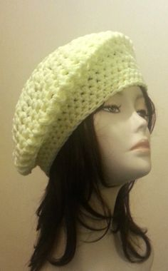 Crocheted  Beret Hat  Mesh Hat  Baby Yellow Colour ♥ by jazzicrafts.