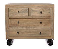 Comoda de madera antigua y ruedas. Medida: 100l x 40f x 85. Disponible en otras medidas.