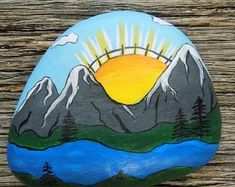 Morning in The Mountains Painted Rock,Decorative Accent Stone, Paperweight by HeartandSoulbyDeb on Etsy Pebble Painting, Pebble Art, Stone Painting, Painted Rocks Craft, Hand Painted Rocks, Painted Stones, Painted Pebbles, Rock Painting Ideas Easy, Rock Painting Designs
