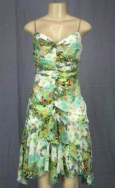 ABS Ruched Dress Crystal Straps Sz 8 6 S M Aqua White Floral Flounce LOVE !! | eBay