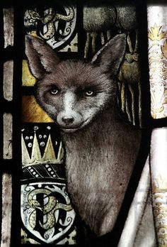 Fox by Shrigley & Hunt in St Peter's Cathedral, Lancaster . Medieval Stained Glass, Stained Glass Angel, Stained Glass Paint, Stained Glass Designs, Stained Glass Windows, Window Glass, Mosaic Glass, Glass Art, Lancaster