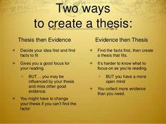 Creating A Good Thesis Statement