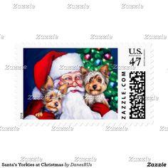 Santa's Yorkies at Christmas Stamp