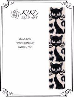 Pattern peyote bracelet Black cats peyote by KikisBeadArts