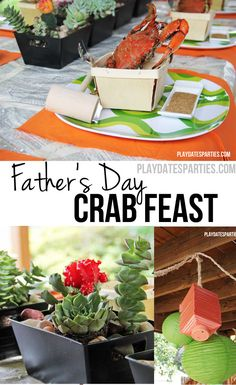 You've never seen a crab feast like this before. The traditionally messy meal gets a makeover with a green and orange color theme, nautical rope touches, natural woven baskets, succulents, and a lantern chandelier.  http://playdatesparties.com/2011/06/real-parties-birthday-and-fathers-day.html