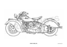 INDIAN CHIEF 1948 -Original Handmade Drawing Fine Print, 11.5x16 in. (29x41 cm), Limited Edition print Classic motorcycle Art Print
