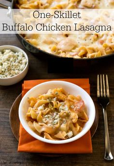 One-Skillet Buffalo Chicken Lasagna   http://www.ihearteating.com   #buffalochicken #lasagna #oneskillet