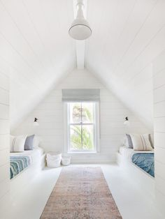 Fresh white kids room with vintage textiles in converted attic space. 25 Beautiful Interior Modern Style Ideas Trending This Summer – Fresh white kids room with vintage textiles in converted attic space. House, Interior, Kids Bedroom Inspiration, Home, Bedroom Design, Amber Interiors, Bedroom Inspirations, Attic Bedroom Designs, White Kids Room