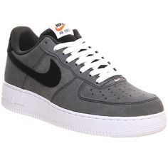 Nike Air Force 1 (m) (361.560 COP) ❤ liked on Polyvore featuring men's fashion, men's shoes, men's sneakers, black white anthracite, his trainers, shoes and trainers
