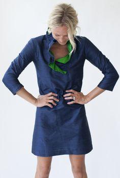 Devon Baer, navy silk dress