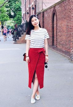 Style Tip: There is something about red paired with black-and-white stripes that will always be classic.