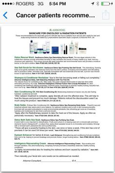 Useful information about our products for people going thru cancer