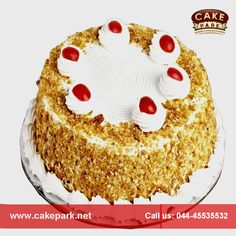 Yummy ‪#‎Delicious‬ dry nuts ‪#‎cake‬ available at Cake park. ‪#‎Eggless‬ fruit and nuts #cake is very pleasing in taste and is liked by almost everyone. Visit us: www.cakepark.net Call us: 044-45535532