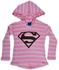 Supergirl Pink Girls Long Sleeve Sweater Hoodie