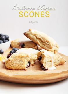 You're going to love these flaky vegan scones. Filled with blueberries and lemon in every bite, this vegan pastry is the ultimate comfort food. Made in just 30 minutes! Eggless Desserts, Vegan Dessert Recipes, Vegan Breakfast Recipes, Vegan Sweets, Brunch Recipes, Breakfast Ideas, Vegetarian Recipes, Vegan Pastries, Vegan Scones