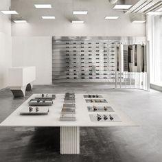 Temple Architecture, Ancient Architecture, Stockholm, S Brick, Small Windows, Metal Shelves, Step Inside, Retail Design, Eyewear