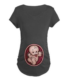 Take a look at this Charcoal & Pink Razz Baby Maternity Tee - Women by CafePress on #zulily today! $21.99, regular 35.00