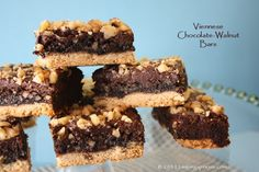 VIENNESE CHOCOLATE WALNUT BARS: usually I bake these around Christmas time, but they're delicious any time of year.