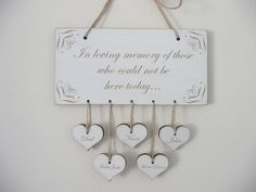 In Loving Memory Sign, Personalised Wedding Remembrance Sign, Wooden Wedding Sign with Hearts, Shabby Chic Wedding Memory Plaque