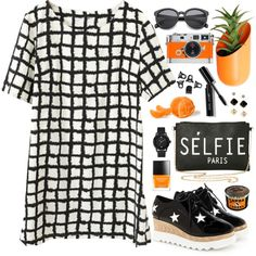 Black White and Orange by bo-jane on Polyvore featuring GUESS, H&M, Bobbi Brown Cosmetics, Butter London, Wallter, Hermès and blackandwhite