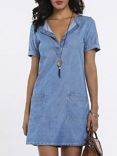 SPU: Process: Paneled,Wrap Material: Denim Pattern Type: Solid Sleeve T… 2019 Summer Dresses With Sleeves, Vintage Summer Dresses, Blue Summer Dresses, Summer Dresses For Women, Dress Summer, Dress Vintage, Denim Fashion, Look Fashion, Casual Dresses