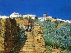 Frederick Childe Hassam (American 1859–1935) [Impressionism] Church Procession, Spanish Steps, 1883.