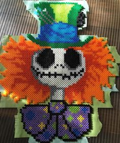 Mad Hatter Jack Skellington perler beads by orangeambu - Pattern: https://de.pinterest.com/pin/374291419014649343/