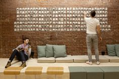 For Airbnb's new Portland office, the design team worked very closely with the employees to co-create the space to conceive and execute their own ideas and designs. Cool Office Space, Office Workspace, Office Walls, Office Spaces, Airbnb Office, Startup Office, Corporate Interiors, Office Interiors, Airbnb Portland