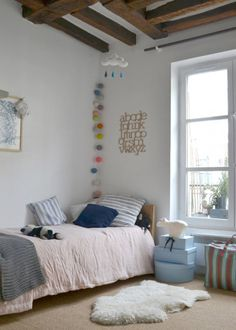 Interiors/Girls Bedroom: Charming Apartment in Paris! Girl Room, Girls Bedroom, Child's Room, Calm Bedroom, Casa Kids, Ideas Habitaciones, Kids Corner, Fashion Room, Kid Spaces