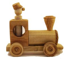 Wooden Toy Train Engine & Driver - Handmade and Eco Friendly, Child Safe, No Screws or Nails, Waldorf and Montessori Wood Toy