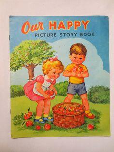 Our Happy Picture Story Book (1950s) - Vintage Children's Book - Rare Children's Books