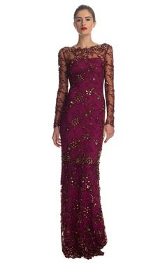 All-Over Embroidered Illusion Sleeve Gown by Marchesa (Pre-Fall 2013). Gorgeous colour!