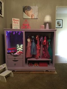 Super Cute And Easy DIY Dress Up Station Repurposed An Old Entertainment Unit Into