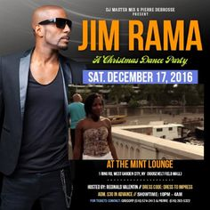 Jim Rama will be performing live at The Mint Lounge, 1 Ring West Garden City, New York (across the street of the Roosevelt Field Mall) Sat. Dec. 17, 2016. Music by DJ Master Mix. Hosted by Reginald Valentin. VIP PACKAGE IS AVAILABLE. Call for tickets AND RESERVATION (516) 574. 2413. Please tell a friend & share the flyer. https://www.facebook.com/gtheman1/videos/1334502296591752/?l=690305895554027076