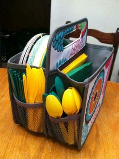 Double duty caddy is great for those plastic and paper supplies.