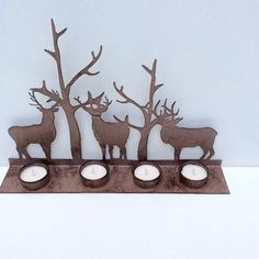 Deer Candle 3 HolderWoodland decor metal art by PommeRoseDecor   #etsyhometeam #homedecor