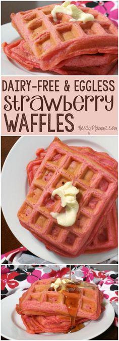 Eggless Strawberry Waffles