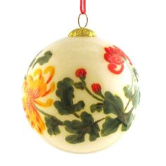 $13.99-$19.99 Ornament, Yellow and Red Chrysanthemum - CO101 - A symbol of the sun, the Japanese consider the orderly unfolding of the chrysanthemumÕs petals to represent perfection, and Confucius once suggested they be used as an object of meditation. Each hand-blown glass ornament is hand painted in reverse on the inside of the glass. Choosing from a selection of miniature curved shaft brushes ... Christmas Balls, Winter Christmas, Xmas, Japanese Ornaments, Handpainted Christmas Ornaments, Ball Ornaments, Chrysanthemum, Hand Blown Glass, Decoration