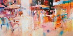 Marie Line Montécot Art Aquarelle, Watercolor Paintings, Watercolors, Poster Color Painting, Ouvrages D'art, Bar Art, Art Et Illustration, Art Abstrait, Contemporary Paintings