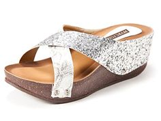 Marc Loire Women Meghan Silver Peep Toe Wedge Sandal >>> Continue to the product at the image link.
