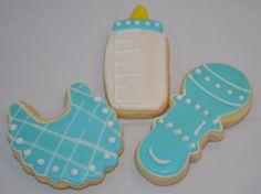 Baby Boy Cookies, bib, bottle and rattle