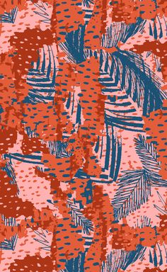 Camo Tropix print by Catarina Guerreiro. Camouflage meets tropical foliage. Energetic and playful, this print will make for a youthful statement to any clothing collection, stationery and wallpaper art. #printdesign #surfaceprintdesign #textile #print #camouflage #tropical #leaves #foliage #catarinaguerreiro