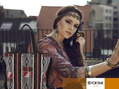 Bolso shopping de tejido étnico de FOR TIME