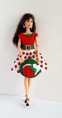 Barbie clothes, Barbie crochet dress, Barbie for baby, crochet set, dress and hat Crochet Barbie Clothes, Hat Shop, Barbie Dress, Sewing For Kids, Knit Dress, Crochet Baby, Nice Dresses, Knitting, Stylish