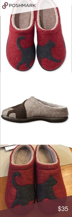 LL Bean Cat Motif Wool Slippers Worn two times indoors. These are extremely comfortable. Discoloring on some parts (last photo), but it's the wool. Durable, excellent quality. Wool clog style upper features coral fleece sock liner to balance warmth and comfort. Antislip rubber indoor/outdoor sole for increased traction.  perfect mule slippers for lounging by a cozy fire or running quick errands around.  They slip on with the convenience of open-backed mule slippers. LL Bean Shoes Slippers
