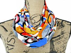 Mod Circles Infinity Scarf Beige Red Gray Mustard Royal Blue Black Pink Yellow…