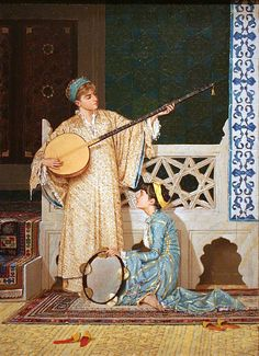 Osman Hamdi Bey, Two Musician Girls, oil on canvas, Pera Museum, Istanbul Google Art Project, Portrait Photos, Portraits, Empire Ottoman, Pics Art, Turkish Art, Arabian Nights, Islamic Art, Art Music