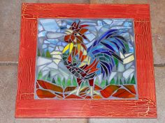 Mosaic Red Rooster  Recycled door, glass,button