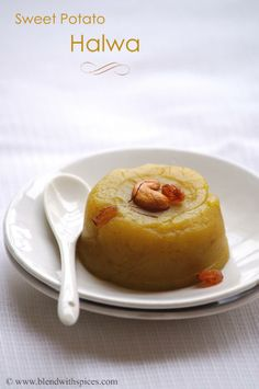 Sweet Potato Halwa: Indian pudding made w/ boiled mashed sweet potatoes & flavored w/ saffron & cardamom.