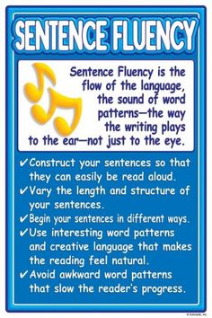 Six-traits of writing sheet of information about sentence fluency. Writing Strategies, Writing Lessons, Writing Resources, Teaching Writing, Writing Activities, Writing Skills, Writing Prompts, Persuasive Essays, Argumentative Essay